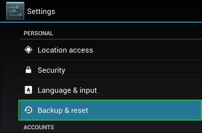 Reset Android phone to Factory Settings